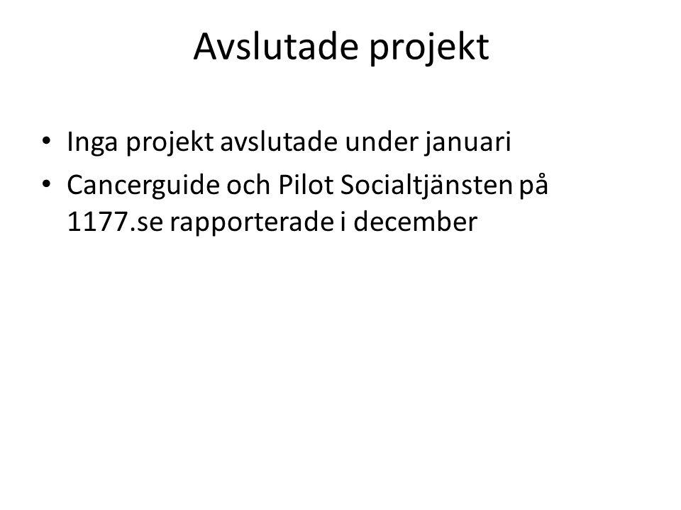 Avslutade projekt Inga projekt avslutade under januari Cancerguide och Pilot Socialtjänsten på 1177.se rapporterade i december