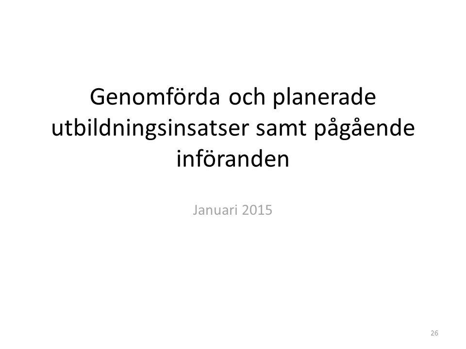 Genomförda och planerade utbildningsinsatser samt pågående införanden Januari 2015 26