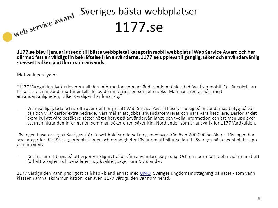 Sveriges bästa webbplatser 1177.se 1177.se blev i januari utsedd till bästa webbplats i kategorin mobil webbplats i Web Service Award och har därmed f