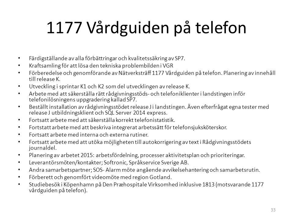 1177 Vårdguiden på telefon 33 Färdigställande av alla förbättringar och kvalitetssäkring av SP7. Kraftsamling för att lösa den tekniska problembilden