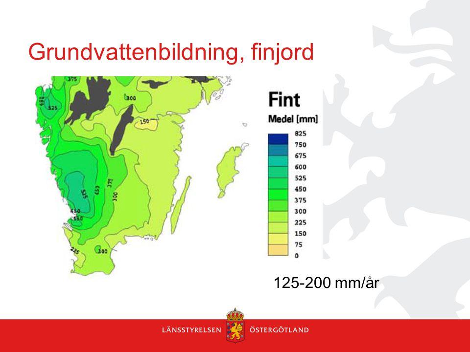 Grundvattenbildning, finjord 125-200 mm/år