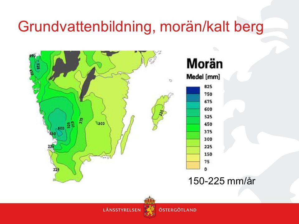 Grundvattenbildning, morän/kalt berg 150-225 mm/år