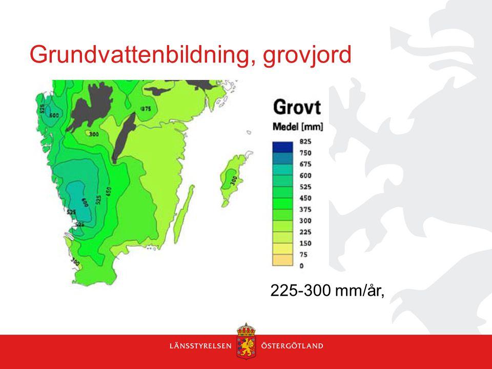 Grundvattenbildning, grovjord 225-300 mm/år,