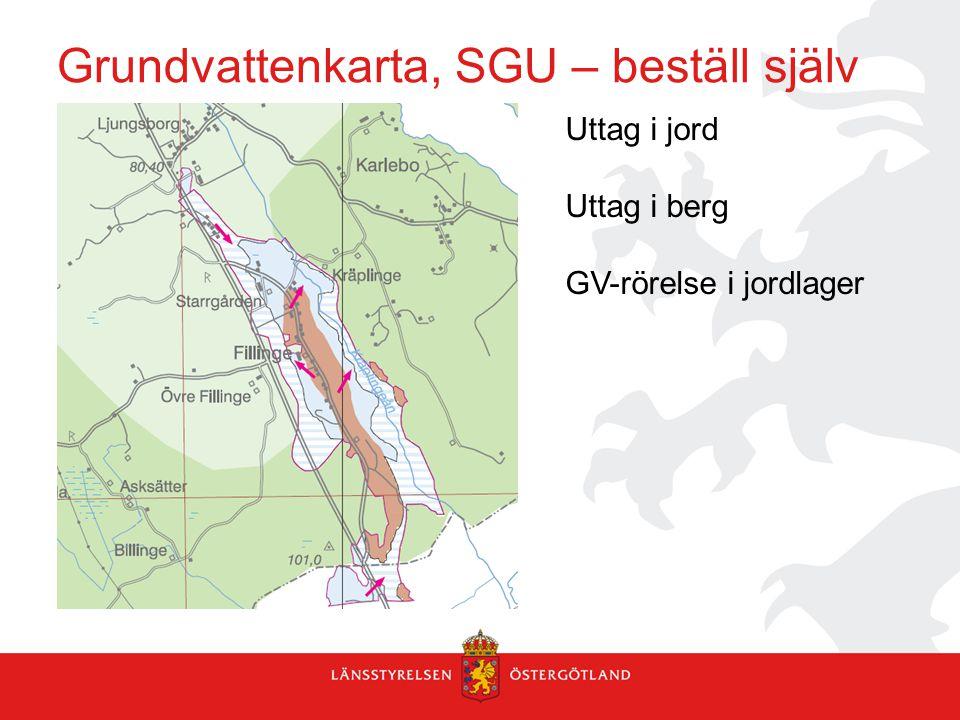 Grundvattenkarta, SGU – beställ själv Uttag i jord Uttag i berg GV-rörelse i jordlager