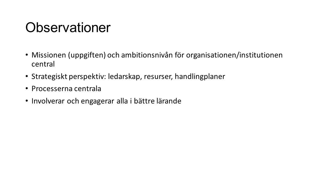 Observationer Missionen (uppgiften) och ambitionsnivån för organisationen/institutionen central Strategiskt perspektiv: ledarskap, resurser, handlingp