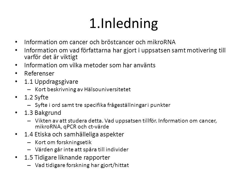 1.Inledning Information om cancer och bröstcancer och mikroRNA Information om vad författarna har gjort i uppsatsen samt motivering till varför det är