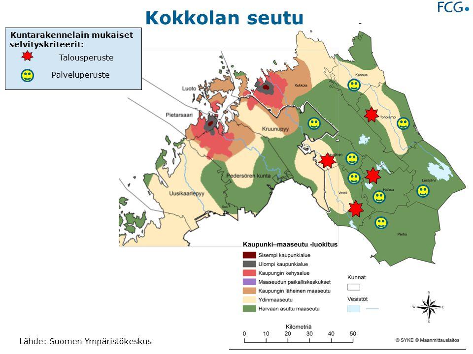 Lähde: Suomen Ympäristökeskus Kokkolan seutu Kuntarakennelain mukaiset selvityskriteerit: Talousperuste Palveluperuste