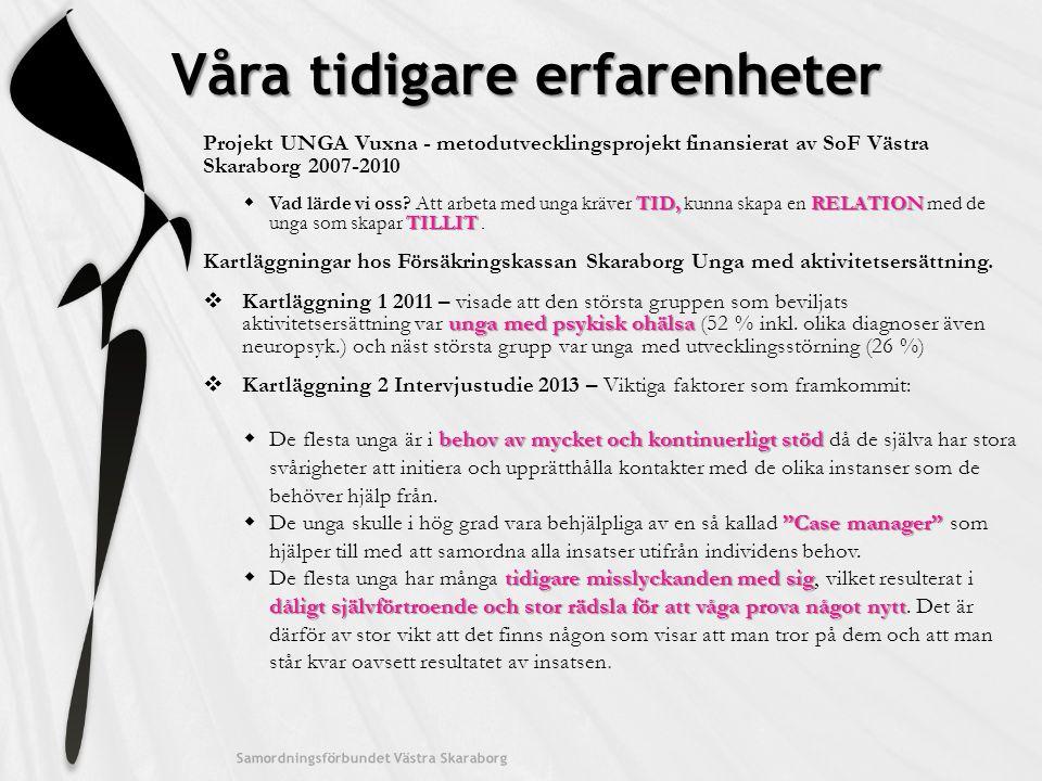 Våra tidigare erfarenheter Samordningsförbundet Västra Skaraborg