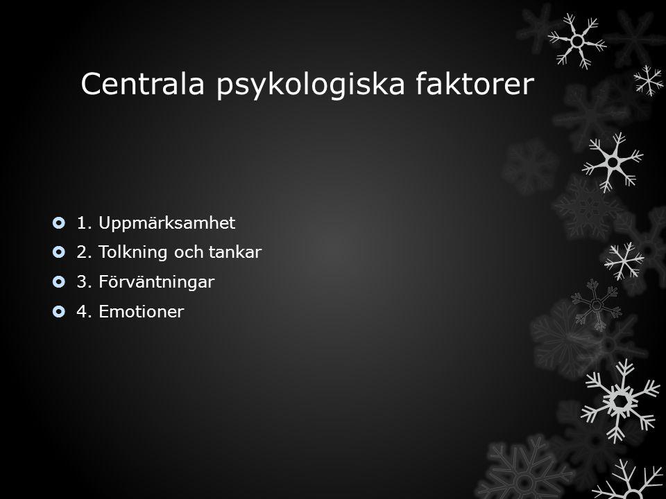 Centrala psykologiska faktorer  1. Uppmärksamhet  2. Tolkning och tankar  3. Förväntningar  4. Emotioner