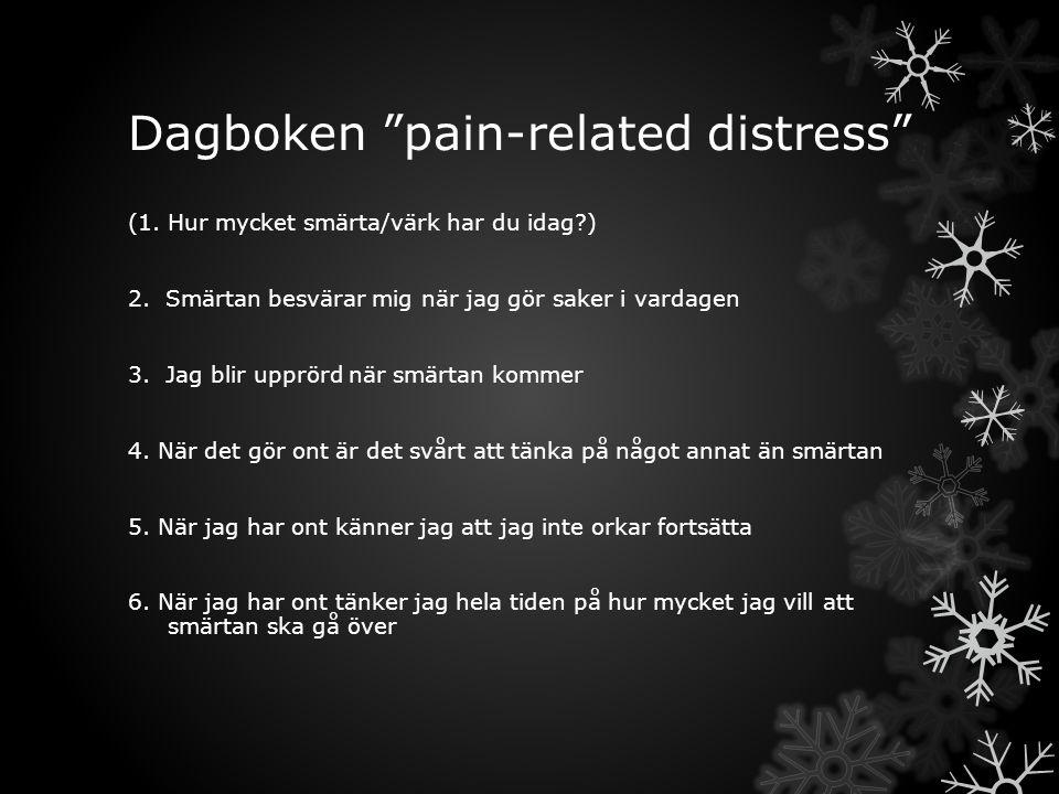 """Dagboken """"pain-related distress"""" (1.Hur mycket smärta/värk har du idag?) 2. Smärtan besvärar mig när jag gör saker i vardagen 3. Jag blir upprörd när"""