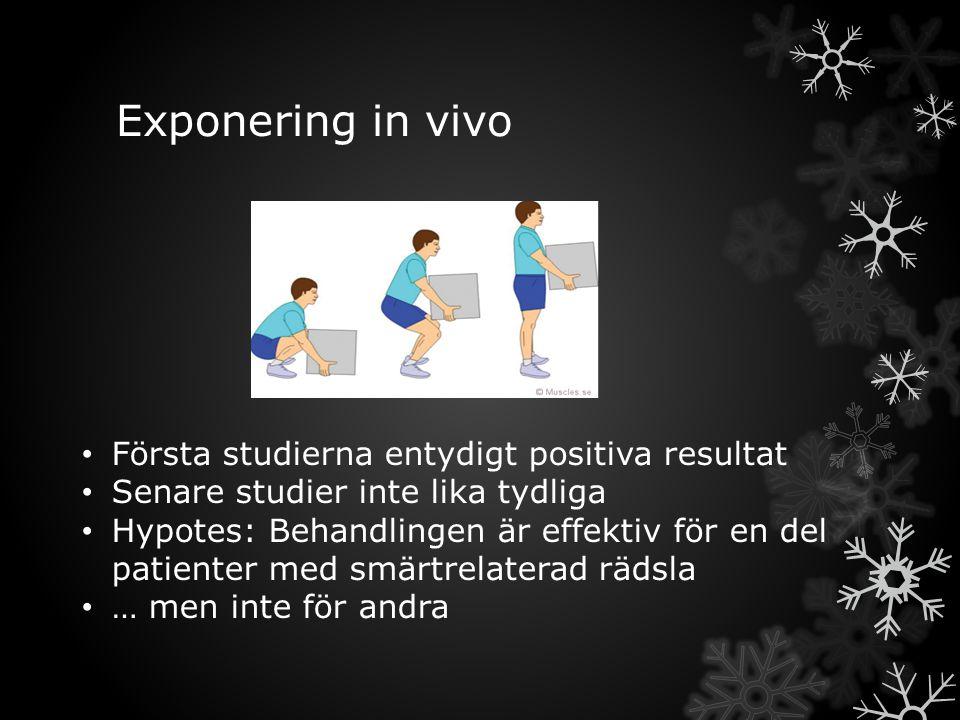 Exponering in vivo Första studierna entydigt positiva resultat Senare studier inte lika tydliga Hypotes: Behandlingen är effektiv för en del patienter med smärtrelaterad rädsla … men inte för andra