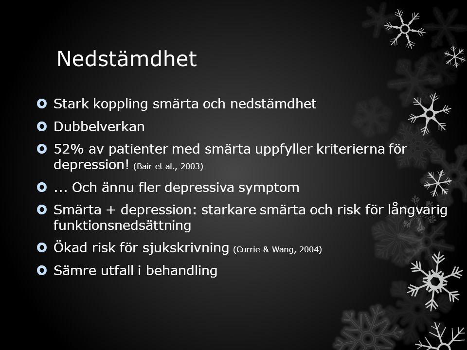 Nedstämdhet  Stark koppling smärta och nedstämdhet  Dubbelverkan  52% av patienter med smärta uppfyller kriterierna för depression.
