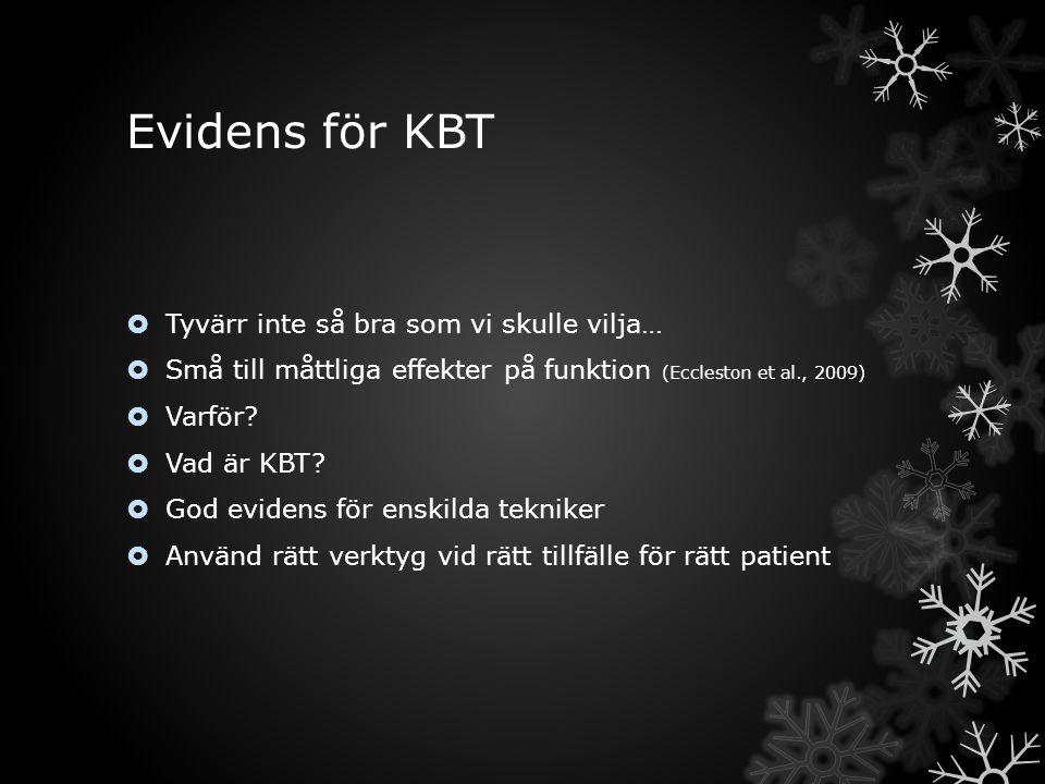 Evidens för KBT  Tyvärr inte så bra som vi skulle vilja…  Små till måttliga effekter på funktion (Eccleston et al., 2009)  Varför?  Vad är KBT? 