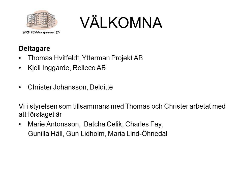 VÄLKOMNA Deltagare Thomas Hvitfeldt, Ytterman Projekt AB Kjell Inggårde, Relleco AB Christer Johansson, Deloitte Vi i styrelsen som tillsammans med Th
