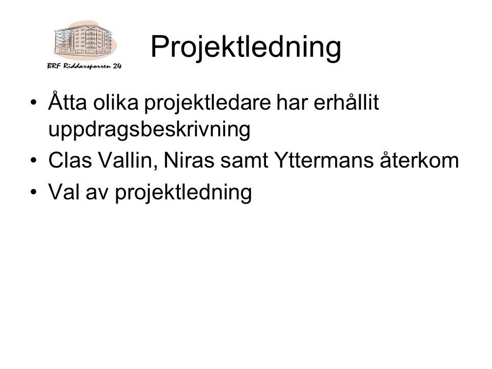 Projektledning Åtta olika projektledare har erhållit uppdragsbeskrivning Clas Vallin, Niras samt Yttermans återkom Val av projektledning