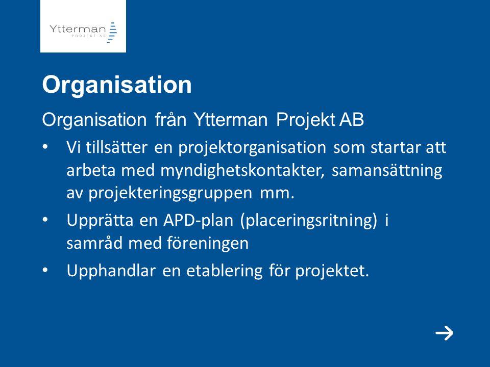 Organisation Organisation från Ytterman Projekt AB Vi tillsätter en projektorganisation som startar att arbeta med myndighetskontakter, samansättning