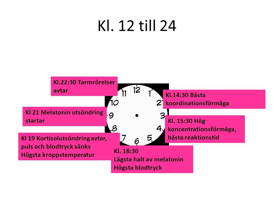 Kl. 12 till 24 Kl. 15:30 Hög koncentrationsförmåga, bästa reaktionstid Kl.22:30 Tarmrörelser avtar Kl 21 Melatonin utsöndring startar Kl 19 Kortisolut