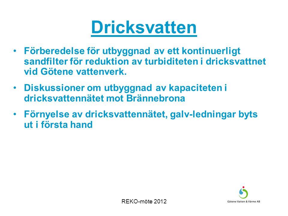 REKO-möte 2012 Dricksvatten Förberedelse för utbyggnad av ett kontinuerligt sandfilter för reduktion av turbiditeten i dricksvattnet vid Götene vattenverk.