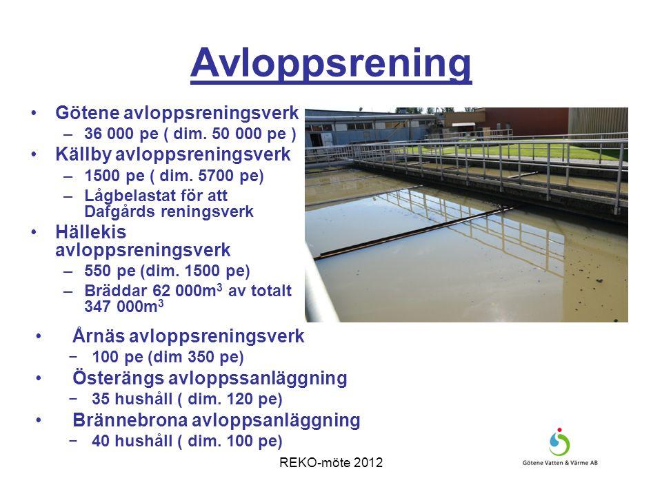 REKO-möte 2012 Avloppsrening Problem med höga flöden vid mycket nederbörd i Hällekis och Götene.