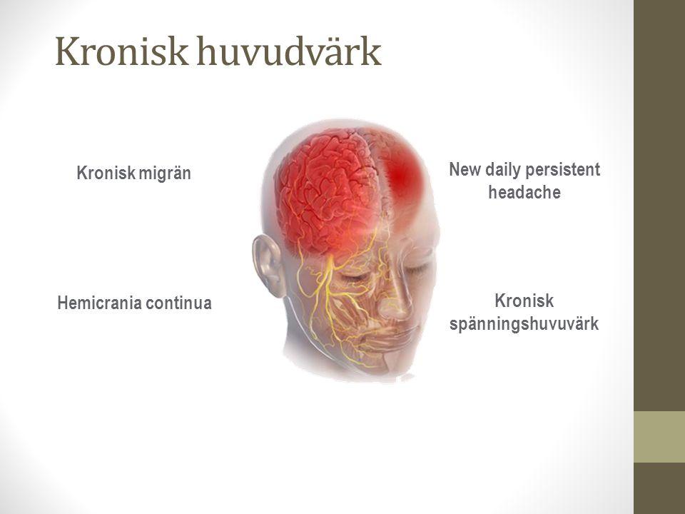 Kronisk huvudvärk Kronisk migrän Hemicrania continua New daily persistent headache Kronisk spänningshuvuvärk