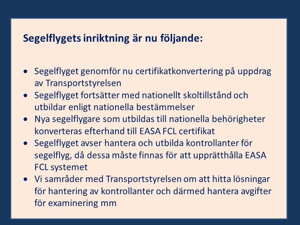 Segelflygets inriktning är nu följande:  Segelflyget genomför nu certifikatkonvertering på uppdrag av Transportstyrelsen  Segelflyget fortsätter med