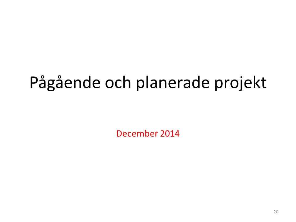 Pågående och planerade projekt December 2014 20