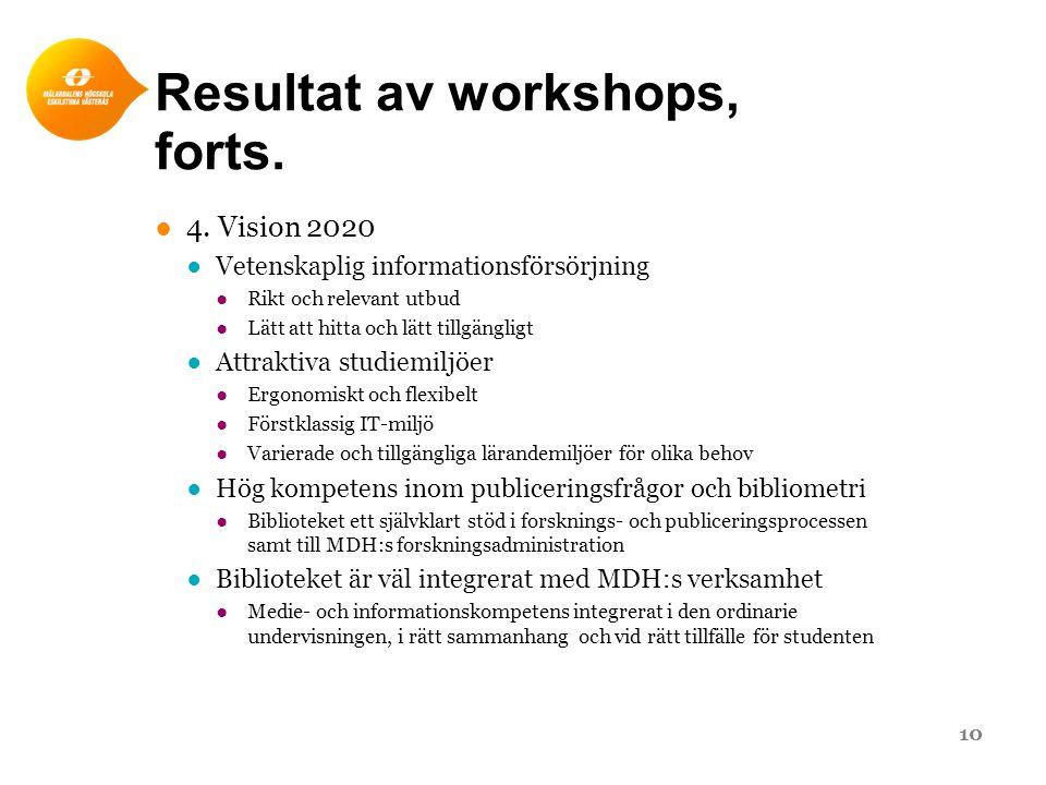 Resultat av workshops, forts. ●4. Vision 2020 ●Vetenskaplig informationsförsörjning ●Rikt och relevant utbud ●Lätt att hitta och lätt tillgängligt ●At