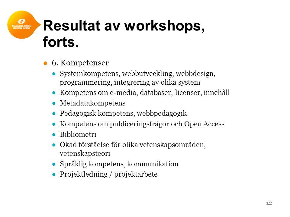Resultat av workshops, forts. ●6. Kompetenser ●Systemkompetens, webbutveckling, webbdesign, programmering, integrering av olika system ●Kompetens om e