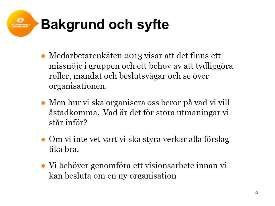 Bakgrund och syfte ●Medarbetarenkäten 2013 visar att det finns ett missnöje i gruppen och ett behov av att tydliggöra roller, mandat och beslutsvägar