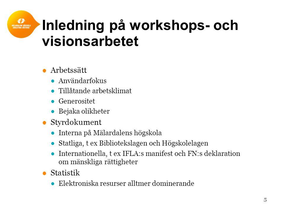 Inledning på workshops- och visionsarbetet ●Arbetssätt ●Användarfokus ●Tillåtande arbetsklimat ●Generositet ●Bejaka olikheter ●Styrdokument ●Interna p