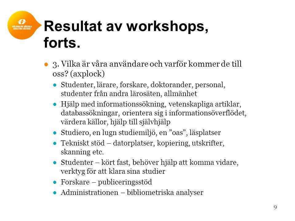 Resultat av workshops, forts. ●3. Vilka är våra användare och varför kommer de till oss? (axplock) ●Studenter, lärare, forskare, doktorander, personal