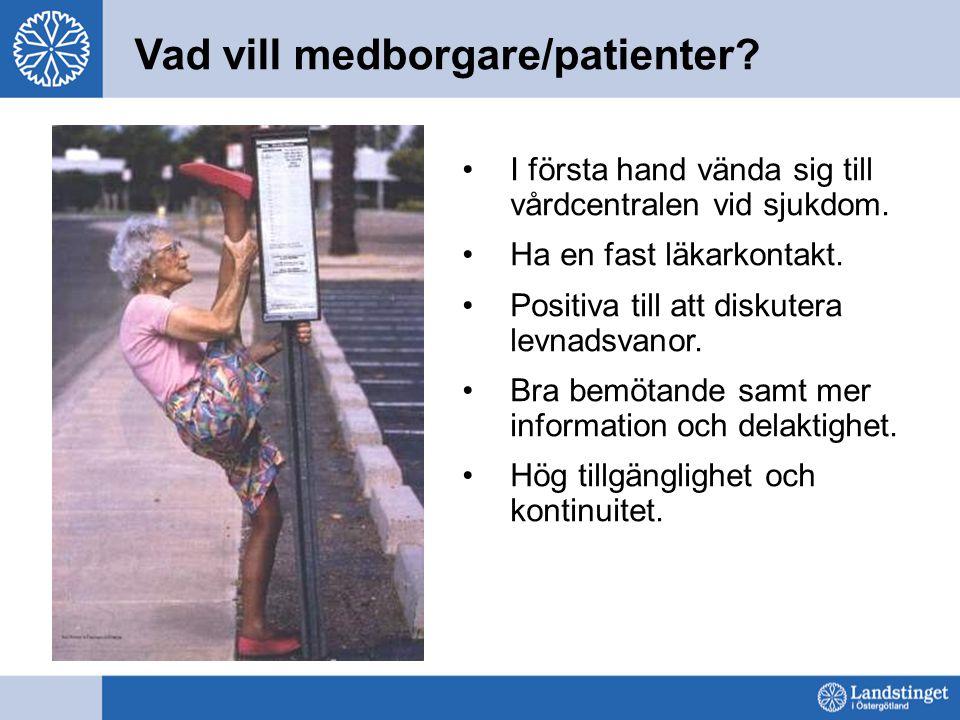 Vad vill medborgare/patienter? I första hand vända sig till vårdcentralen vid sjukdom. Ha en fast läkarkontakt. Positiva till att diskutera levnadsvan