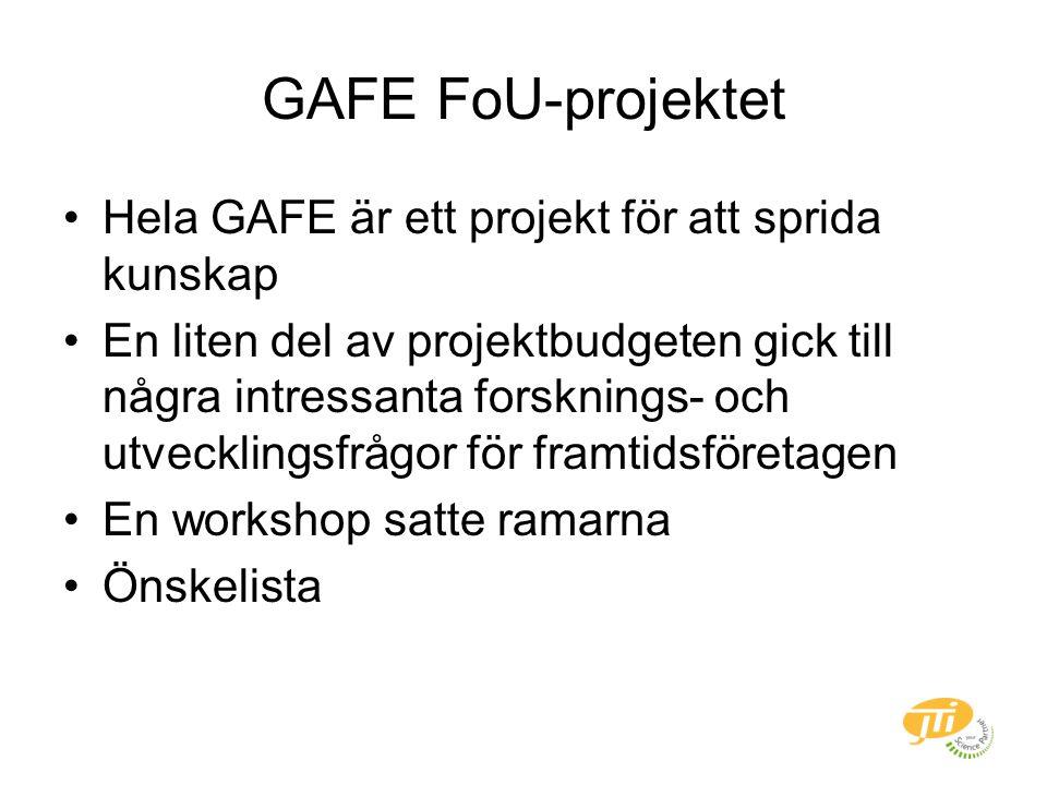 GAFE FoU-projektet Hela GAFE är ett projekt för att sprida kunskap En liten del av projektbudgeten gick till några intressanta forsknings- och utvecklingsfrågor för framtidsföretagen En workshop satte ramarna Önskelista
