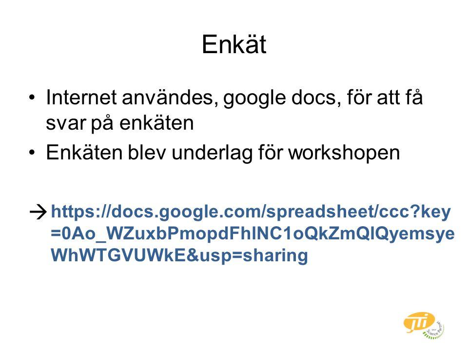 Enkät Internet användes, google docs, för att få svar på enkäten Enkäten blev underlag för workshopen  https://docs.google.com/spreadsheet/ccc key =0Ao_WZuxbPmopdFhlNC1oQkZmQlQyemsye WhWTGVUWkE&usp=sharing