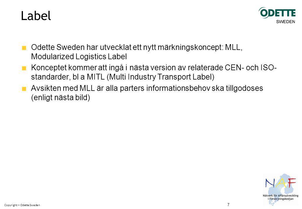 Copyright – Odette Sweden Label Odette Sweden har utvecklat ett nytt märkningskoncept: MLL, Modularized Logistics Label Konceptet kommer att ingå i nästa version av relaterade CEN- och ISO- standarder, bl a MITL (Multi Industry Transport Label) Avsikten med MLL är alla parters informationsbehov ska tillgodoses (enligt nästa bild) 7