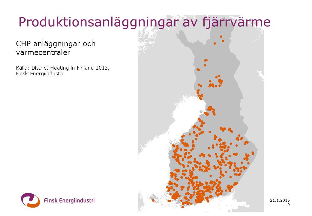 21.1.2015 CHP anläggningar och värmecentraler Källa: District Heating in Finland 2013, Finsk Energiindustri 9 Produktionsanläggningar av fjärrvärme