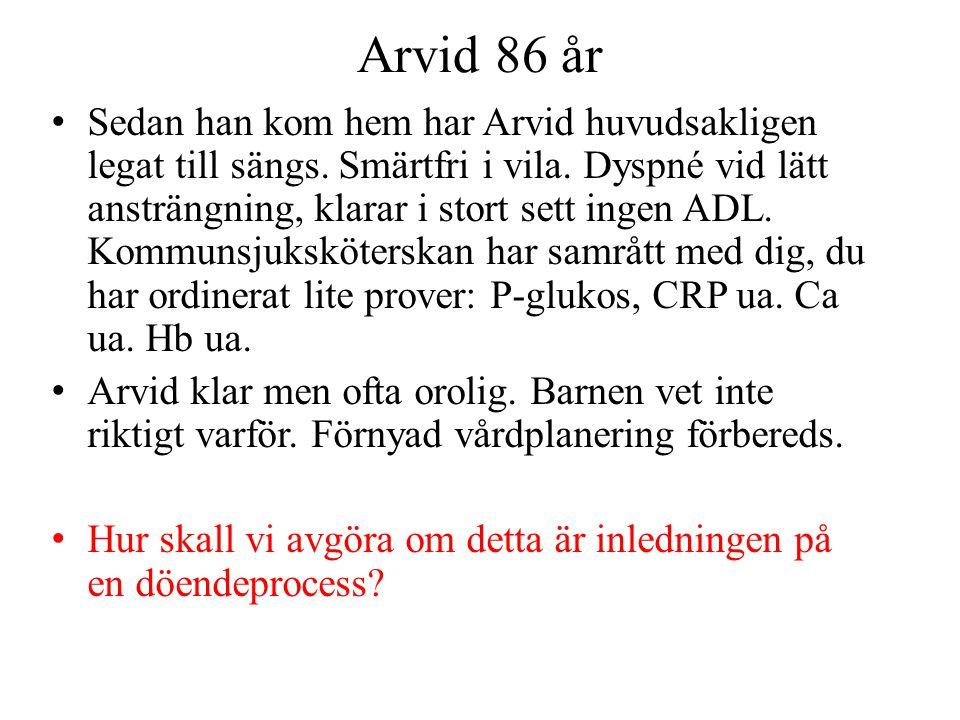 Arvid 86 år Sedan han kom hem har Arvid huvudsakligen legat till sängs. Smärtfri i vila. Dyspné vid lätt ansträngning, klarar i stort sett ingen ADL.