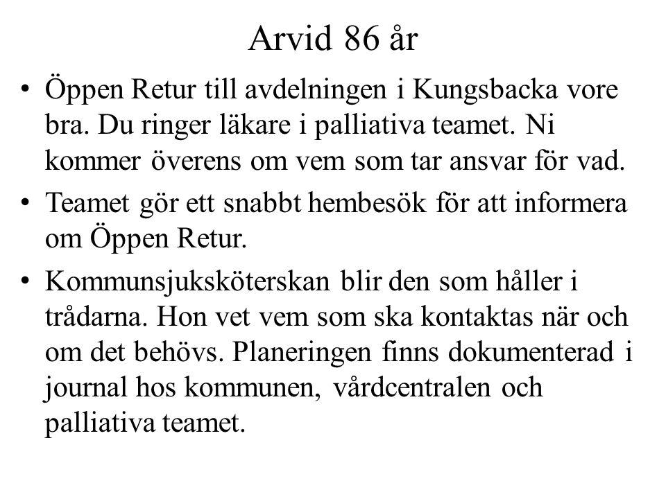 Arvid 86 år Öppen Retur till avdelningen i Kungsbacka vore bra. Du ringer läkare i palliativa teamet. Ni kommer överens om vem som tar ansvar för vad.