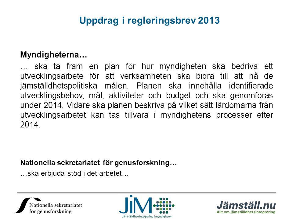 Uppdrag i regleringsbrev 2013 Myndigheterna… … ska ta fram en plan för hur myndigheten ska bedriva ett utvecklingsarbete för att verksamheten ska bidr