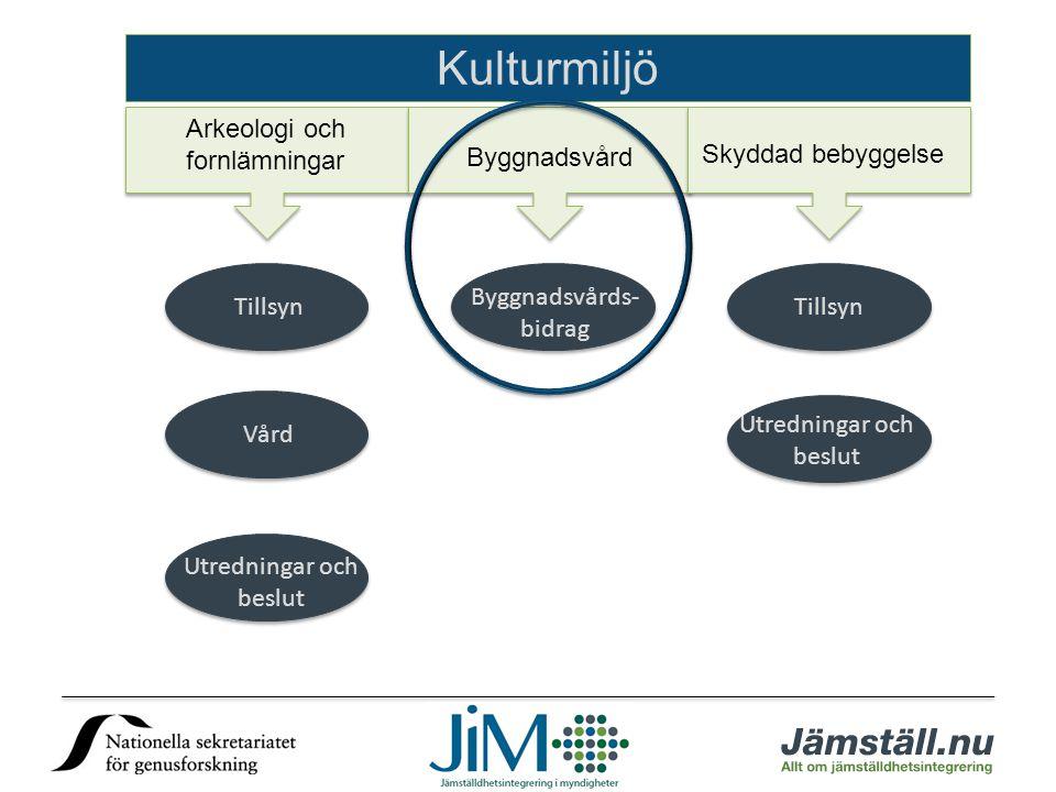Kulturmiljö Arkeologi och fornlämningar Byggnadsvård Skyddad bebyggelse Tillsyn Vård Utredningar och beslut Byggnadsvårds- bidrag Tillsyn Utredningar