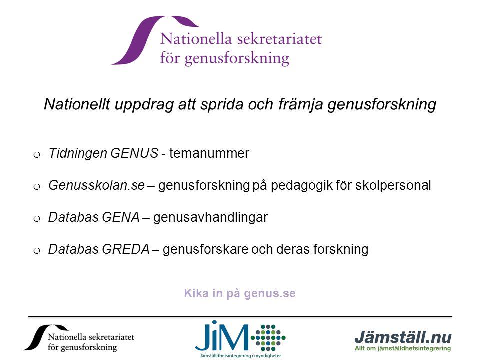 Nationellt uppdrag att sprida och främja genusforskning o Tidningen GENUS - temanummer o Genusskolan.se – genusforskning på pedagogik för skolpersonal