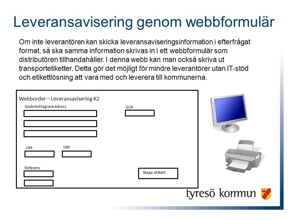 Om inte leverantören kan skicka leveransaviseringsinformation i efterfrågat format, så ska samma information skrivas in i ett webbformulär som distrib