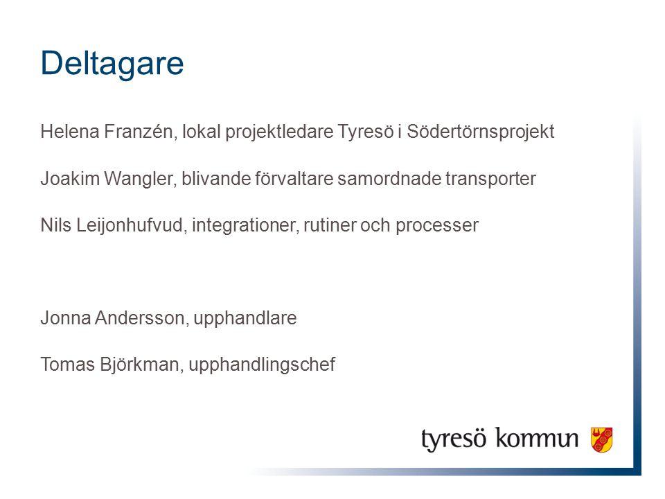Deltagare Helena Franzén, lokal projektledare Tyresö i Södertörnsprojekt Joakim Wangler, blivande förvaltare samordnade transporter Nils Leijonhufvud,