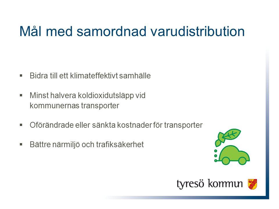 Mål med samordnad varudistribution  Bidra till ett klimateffektivt samhälle  Minst halvera koldioxidutsläpp vid kommunernas transporter  Oförändrade eller sänkta kostnader för transporter  Bättre närmiljö och trafiksäkerhet