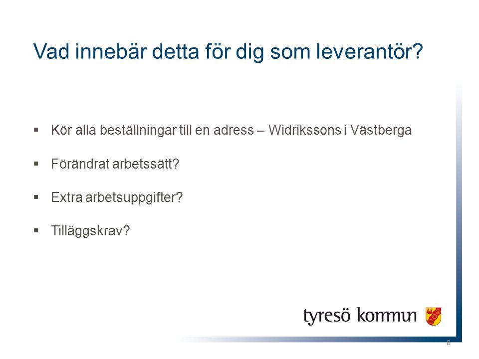8  Kör alla beställningar till en adress – Widrikssons i Västberga  Förändrat arbetssätt?  Extra arbetsuppgifter?  Tilläggskrav? Vad innebär detta