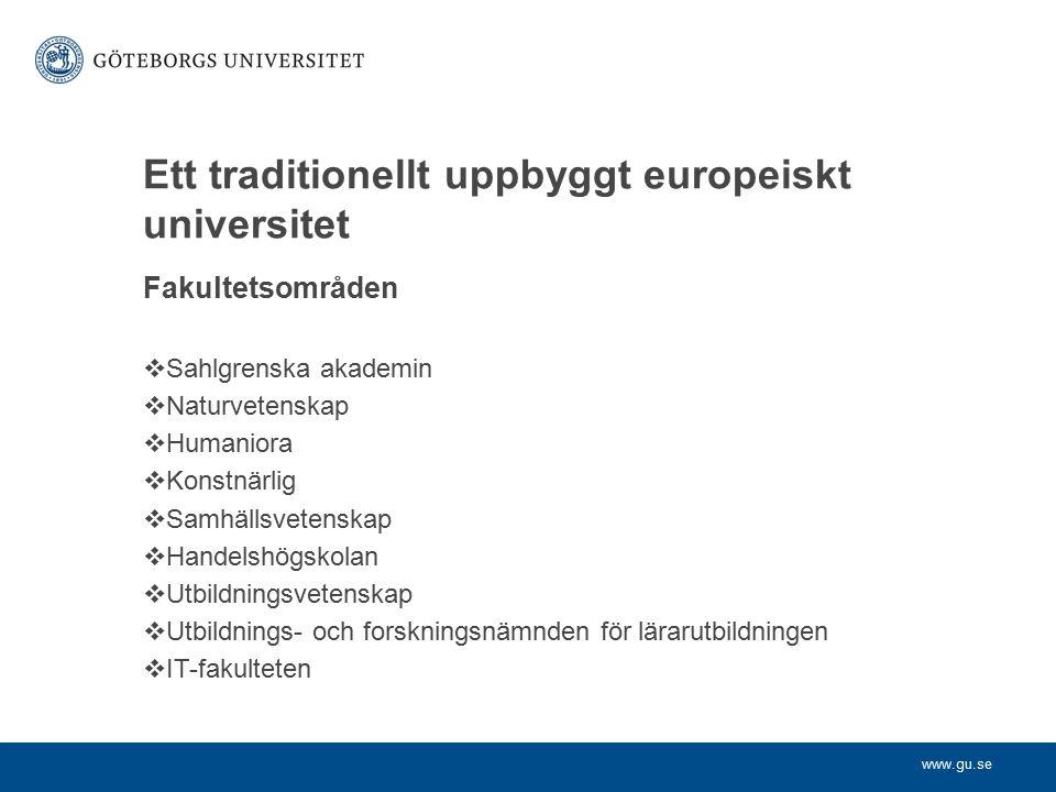 www.gu.se Ett traditionellt uppbyggt europeiskt universitet Fakultetsområden  Sahlgrenska akademin  Naturvetenskap  Humaniora  Konstnärlig  Samhä