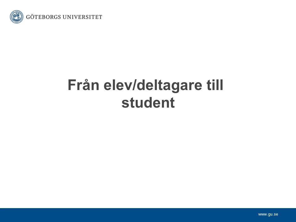 www.gu.se Från elev/deltagare till student