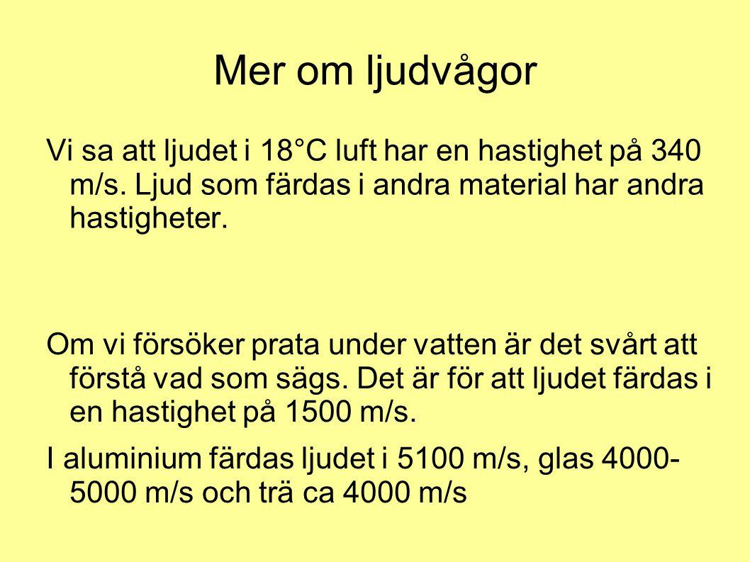 Mer om ljudvågor Vi sa att ljudet i 18°C luft har en hastighet på 340 m/s. Ljud som färdas i andra material har andra hastigheter. Om vi försöker prat