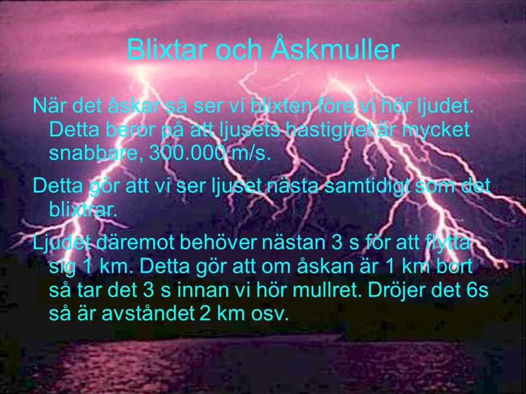 Blixtar och Åskmuller När det åskar så ser vi blixten före vi hör ljudet. Detta beror på att ljusets hastighet är mycket snabbare, 300.000 m/s. Detta