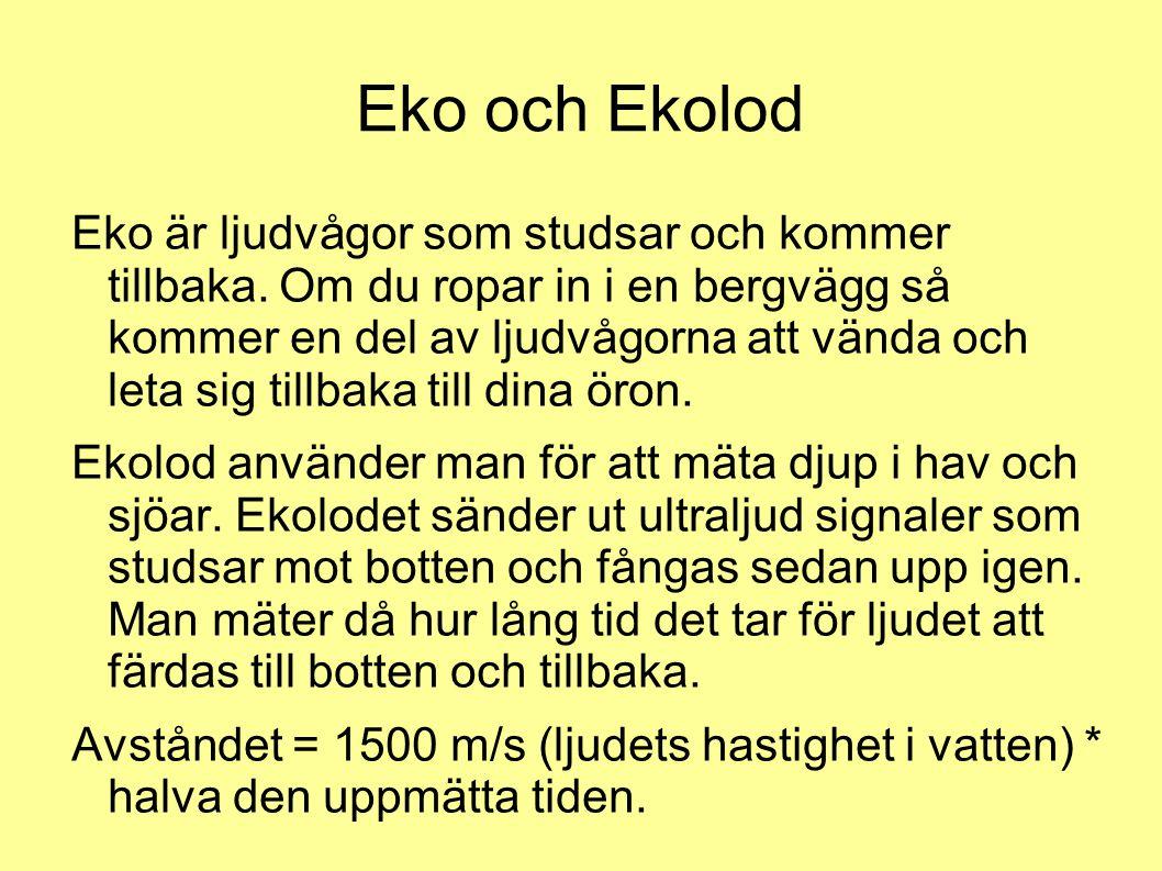 Eko och Ekolod Eko är ljudvågor som studsar och kommer tillbaka. Om du ropar in i en bergvägg så kommer en del av ljudvågorna att vända och leta sig t